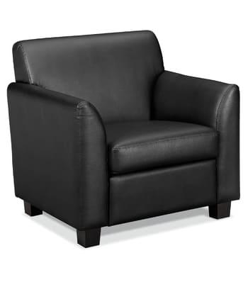 HON Circulate Tailored Club Chair | Black SofThread Leather