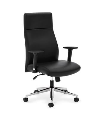 HON Define High-Back Executive Chair | Synchro-Tilt | Adjustable Arms | Black SofThread Leather