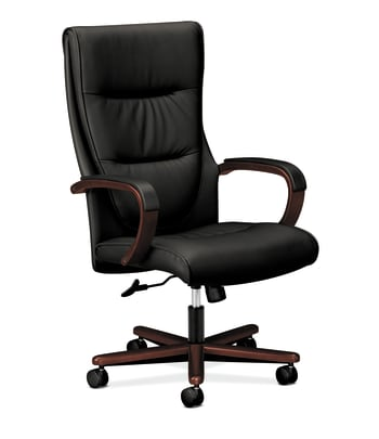 HON Topflight Executive High-Back Chair | Center-Tilt | Fixed Arms | Wood Trim | Mahogany Finish | Black SofThread Leather