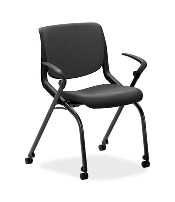 HON Motivate Nesting/Stacking Chair   Flex Back   Upholstered Seat   Onyx Shell   Charcoal Fabric   Black Base