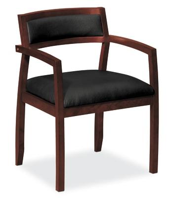 HON Topflight Guest Chair | Wood Frame | Mahogany Finish | Black SofThread Leather