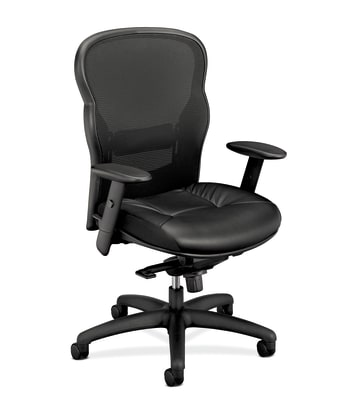 HON Wave Mesh High-Back Task Chair | Knee-Tilt | Adjustable Arms | SofThread Leather Seat