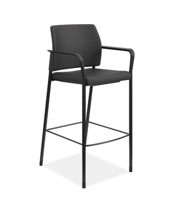 HON Accommodate Cafe Stool | Fixed Arms | Black Fabric | Textured Black Frame