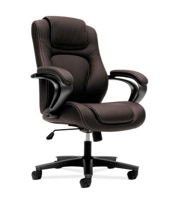 HON High-Back Executive Chair | Center-Tilt | Fixed Arms | Brown Vinyl