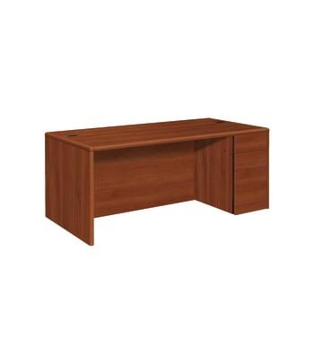 "HON 10700 Series Right Pedestal Desk   2 Box / 1 File Drawer   72""W   Cognac Finish"
