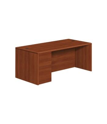 "HON 10700 Series Left Pedestal Desk   2 Box / 1 File Drawer   72""W   Cognac Finish"