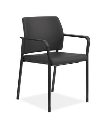 HON Accommodate Guest Chair | Fixed Arms | Black Fabric | Textured Black Frame