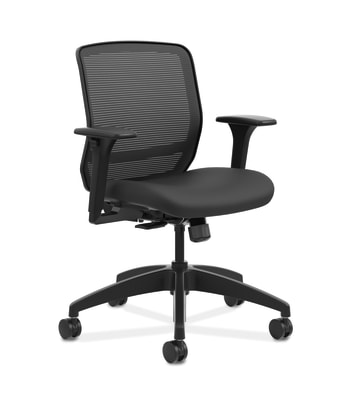 HON Quotient Mesh Back Task Chair | Synchro-Tilt | Adjustable Arms | Black Mesh | Black Fabric