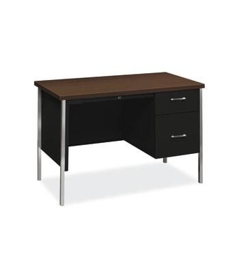 "HON 34000 Series Small Office Desk | 1 Box / 1 File Drawer | 45-1/4""W | Mocha Laminate | Black Finish"