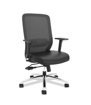 HON Exposure Mesh High-Back Task Chair | Synchro-Tilt, Lumbar, Seat Glide | 2-Way Arms | Black SofThread Leather