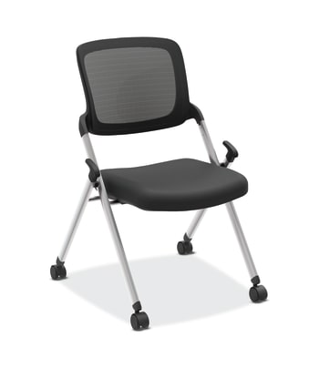 HON Assemble Mesh Back Nesting / Stacking Chair | Armless | Two Per Carton | Black Fabric | Black Mesh | Silver Frame