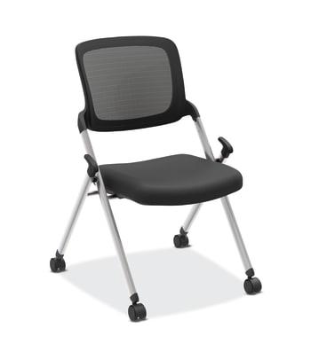 HON Assemble Mesh Back Nesting / Stacking Chair | Armless | Two Per Carton | Black Fabric | Black Mesh | Silver Frame