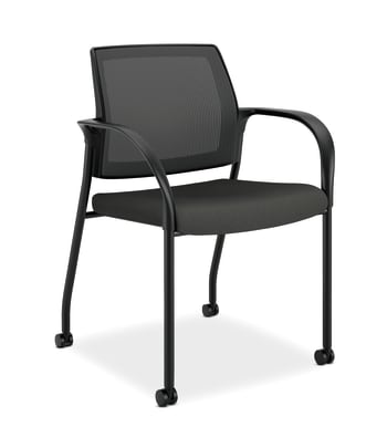 HON Ignition Mesh Back Multi-Purpose Stacking Chair | Fixed Arms | Casters | Black Frame | Iron Ore Fabric