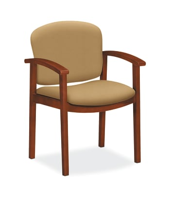 HON Invitation Guest Chair | Fixed Arms | Wood Frame | Cognac Finish | Camel Fabric