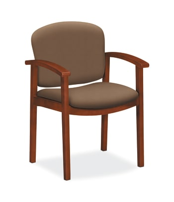 HON Invitation Guest Chair | Fixed Arms | Wood Frame | Cognac Finish | Cappuccino Fabric