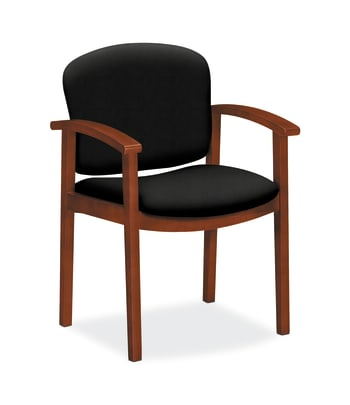 HON Invitation Guest Chair | Fixed Arms | Wood Frame | Cognac Finish | Black Fabric