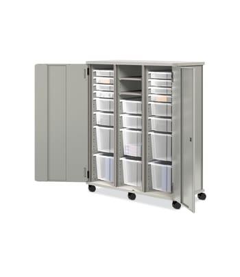 "HON SmartLink Modular Storage Cabinet | Full Height | Silver Mesh Laminate | Platinum T-Mold | 52-3/4""W"