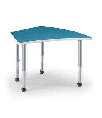 "HON Build Table | Kite Shape | 40""W x 24""D | Blue Agave Laminate | Platinum T-Mold | Platinum Legs"