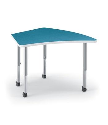 "HON Build Table | Kite Shape | 50""W x 30""D | Blue Agave Laminate | Platinum T-Mold | Platinum Legs"