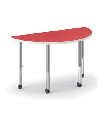 "HON Build Table | Half Round Shape | 60""W x 30""D | Pomegranate Laminate | Platinum T-Mold | Platinum Legs"