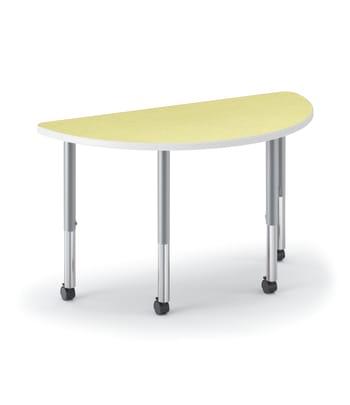 "HON Build Table | Half Round Shape | 60""W x 30""D | Kiwi Laminate | Platinum T-Mold | Platinum Legs"