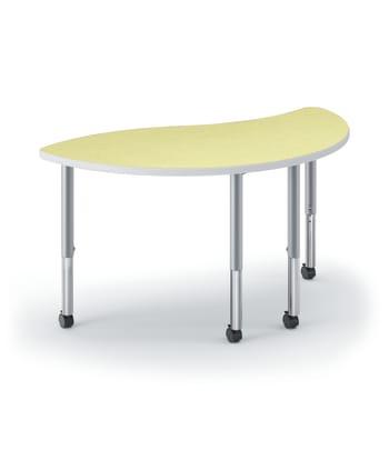 "HON Build Table | Wisp Shape | 54""W x 30""D | Kiwi Laminate | Platinum T-Mold | Platinum Legs"