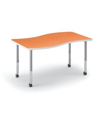 "HON Build Table | Ribbon Shape | 54""W x 30""D | Tangerine Laminate | Platinum T-Mold | Platinum Legs"