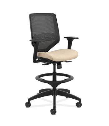 HON Solve Mid-Back Task Stool    Black 4-way stretch Mesh Back   Black Frame    Putty Seat Fabric