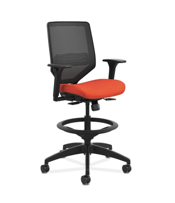 HON Solve Mid-Back Task Stool |  Black 4-way stretch Mesh Back | Black Frame |  Bittersweet Seat Fabric