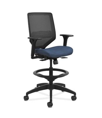 HON Solve Mid-Back Task Stool |  Black 4-way stretch Mesh Back | Black Frame |  Midnight Seat Fabric