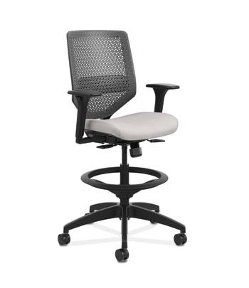 HON Solve Mid-Back Task Stool |   Charcoal ReActiv Back | Black Frame |  Sterling Seat Fabric