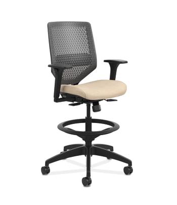 HON Solve Mid-Back Task Stool |   Charcoal ReActiv Back | Black Frame |  Putty Seat Fabric