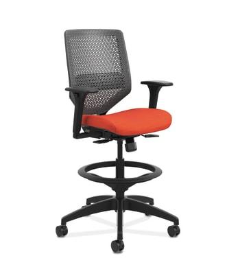 HON Solve Mid-Back Task Stool |   Charcoal ReActiv Back | Black Frame |  Bittersweet Seat Fabric