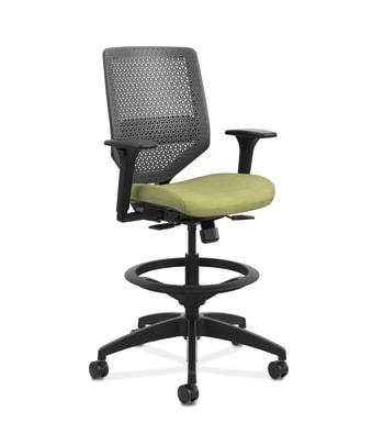 HON Solve Mid-Back Task Stool |   Charcoal ReActiv Back | Black Frame |  Meadow Seat Fabric