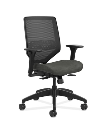 HON Solve Mid-Back Task Chair | Black 4-way stretch Mesh Back |Adjustable Lumbar | Black Frame |  Ink Seat Fabric