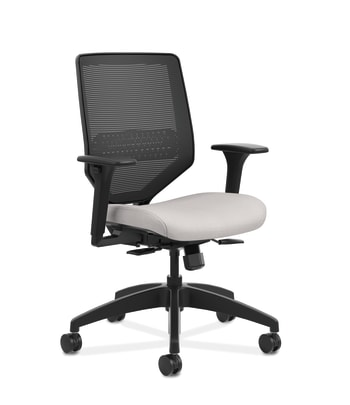 HON Solve Mid-Back Task Chair | Black 4-way stretch Mesh Back |Adjustable Lumbar | Black Frame |  Sterling Seat Fabric