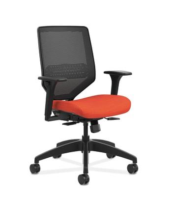 HON Solve Mid-Back Task Chair   Black 4-way stretch Mesh Back   Adjustable Lumbar   Black Frame    Bittersweet Seat Fabric