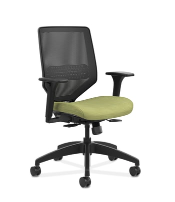 HON Solve Mid-Back Task Chair | Black 4-way stretch Mesh Back | Adjustable Lumbar | Black Frame |  Meadow Seat Fabric