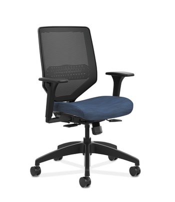 HON Solve Mid-Back Task Chair | Black 4-way stretch Mesh Back | Adjustable Lumbar | Black Frame |  Midnight Seat Fabric