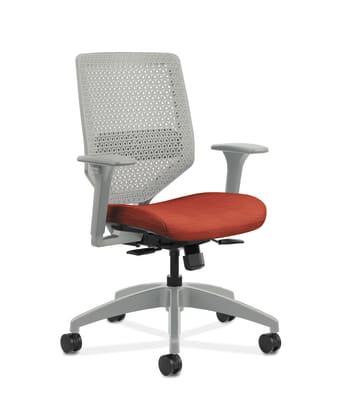 HON Solve Mid-Back Task Chair | Titanium ReActiv Back | Adjustable Lumbar | Black Frame |  Bittersweet Seat Fabric