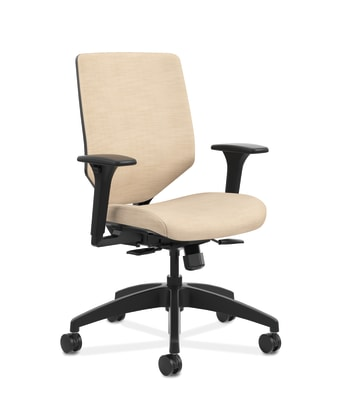 HON Solve Mid-Back Task Chair | Upholstered Charcoal ReActiv Back | Black Frame | Putty Seat Fabric