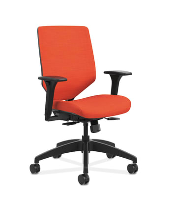 HON Solve Mid-Back Task Chair | Upholstered Charcoal ReActiv Back | Adjustable Lumbar | Black Frame |  Bittersweet Seat Fabric