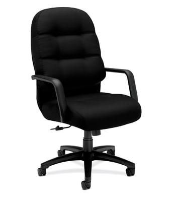HON Pillow-Soft Executive High-Back Chair | Center-Tilt | Fixed Arms | Black Fabric