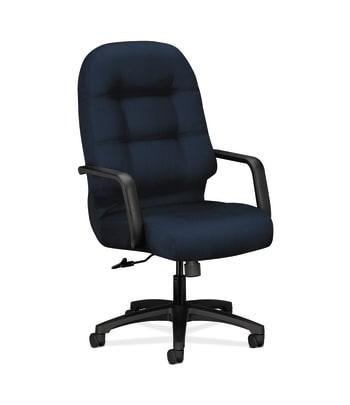 HON Pillow-Soft Executive High-Back Chair | Center-Tilt | Fixed Arms | Navy Fabric
