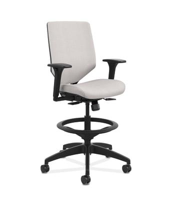 HON Solve Mid-Back Task Stool | Upholstered Charcoal ReActiv Back | Adjustable Lumbar | Black Frame |  Sterling Seat Fabric