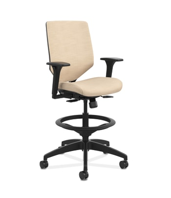 HON Solve Mid-Back Task Stool | Upholstered Charcoal ReActiv Back | Adjustable Lumbar | Black Frame |  Putty Seat Fabric