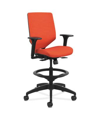 HON Solve Mid-Back Task Stool | Upholstered Charcoal ReActiv Back | Black Frame |  Bittersweet Seat Fabric