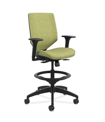 HON Solve Mid-Back Task Stool | Upholstered Charcoal ReActiv Back | Adjustable Lumbar | Black Frame |  Meadow Seat Fabric