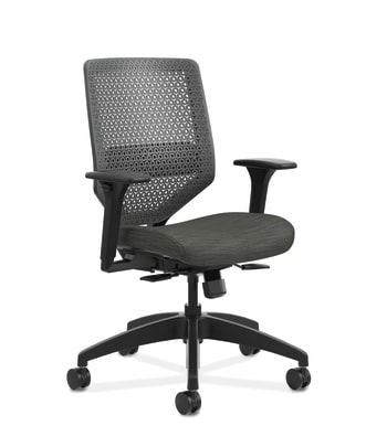 HON Solve Mid-Back Task Chair | Charcoal ReActiv Back | Black Frame | Easy Assembly | Ink Seat Fabric