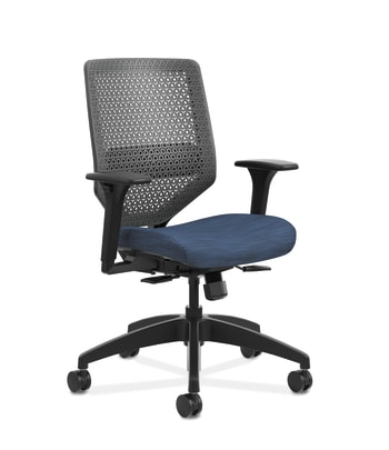 HON Solve Mid-Back Task Chair | Charcoal ReActiv Back | Black Frame | Easy Assembly | Midnight Seat Fabric